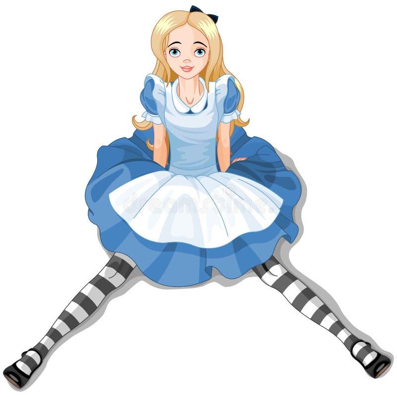 Siedzieć Alice ilustracji