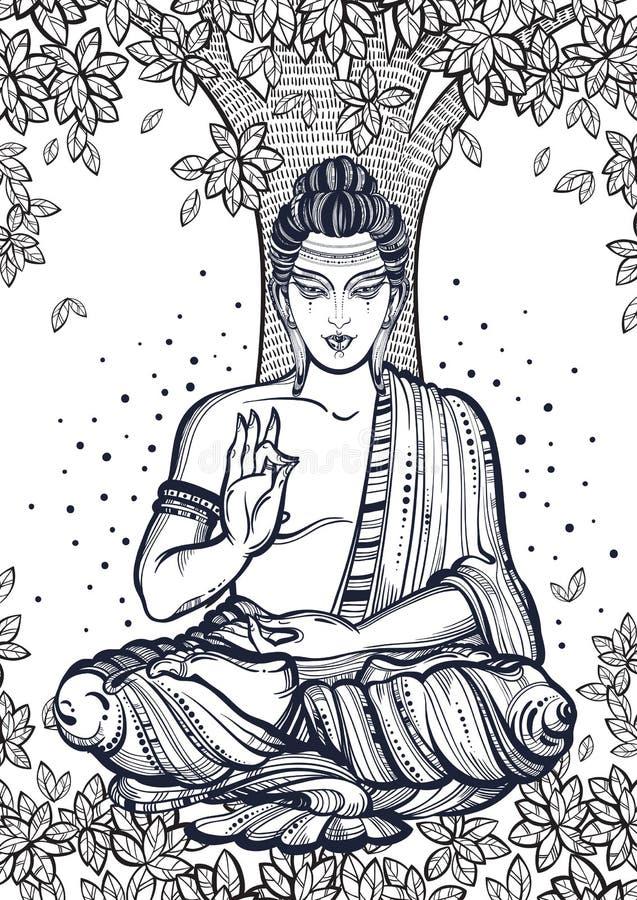 Siedzieć Buddha nad Bodhi drzewem Graficzna wysokiej jakości wektorowa ilustracja Duchowi i religijni motywy ilustracja wektor