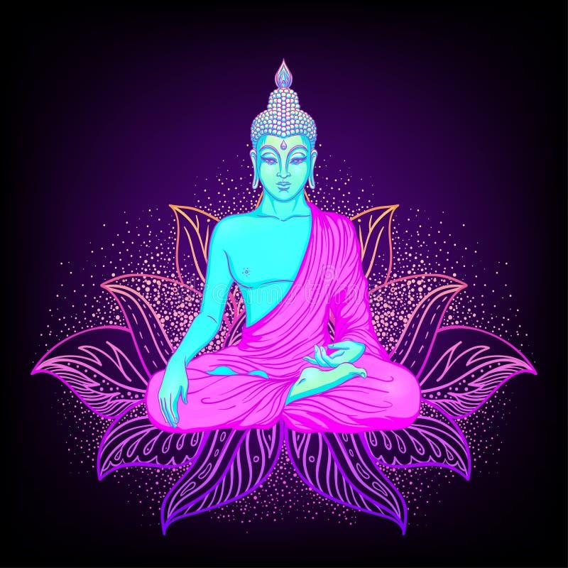 Siedzieć Buddha sylwetkę nad ornamentacyjnym Lotosowym kwiatem ezoteryk royalty ilustracja