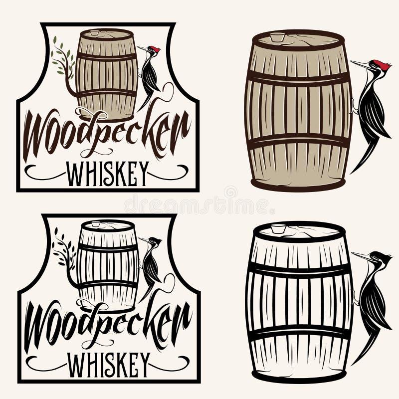 siedzieć na lufowych whisky etykietkach ustawiać royalty ilustracja