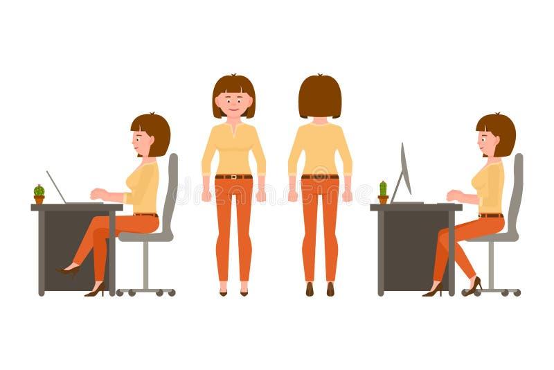 Siedzieć, pisać na maszynie na kluczowej desce, stojący przód i tylną widok dziewczyny postaci z kreskówki - set ilustracja wektor