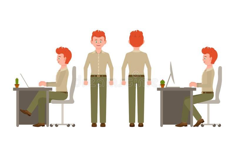 Siedzieć, pisać na maszynie na kluczowej desce, stojący przód i tylnego widok chłopiec charakteru Potomstwa, uśmiechnięty czerwon ilustracji