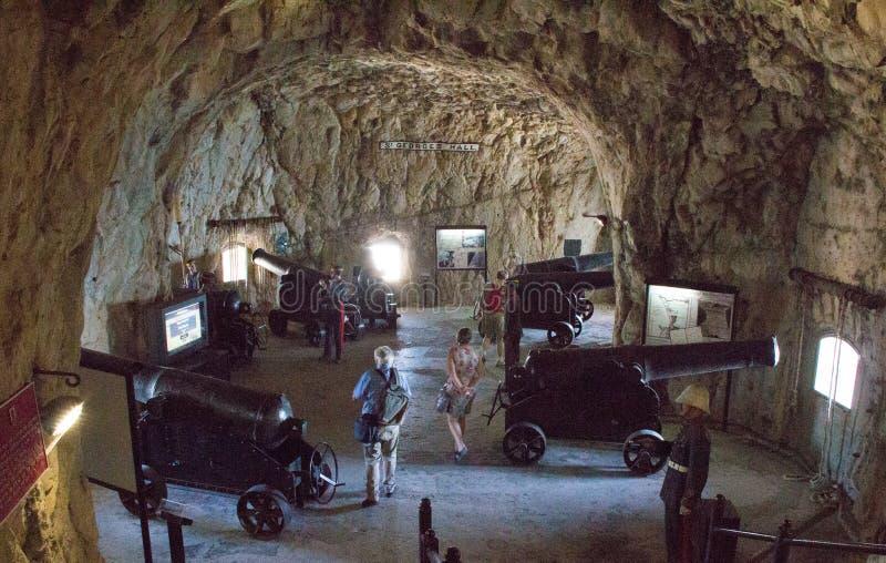 Siege Tunnels på Gibraltar arkivbilder