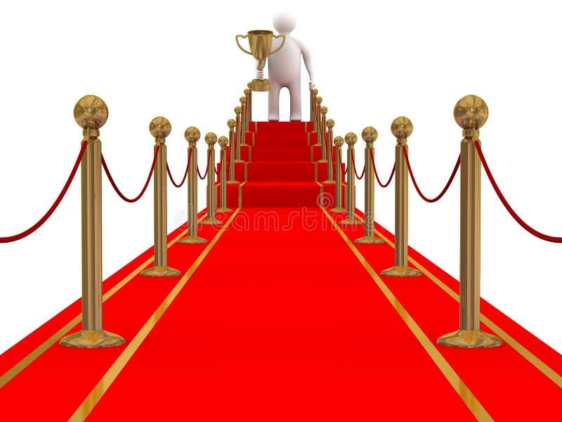 Sieger auf einem Pfad des roten Teppichs. lizenzfreie abbildung