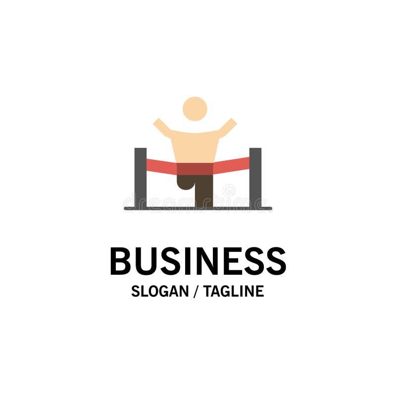 Sieger, Geschäft, Ende, Führer, Führung, Mann, Renngeschäft Logo Template flache Farbe vektor abbildung