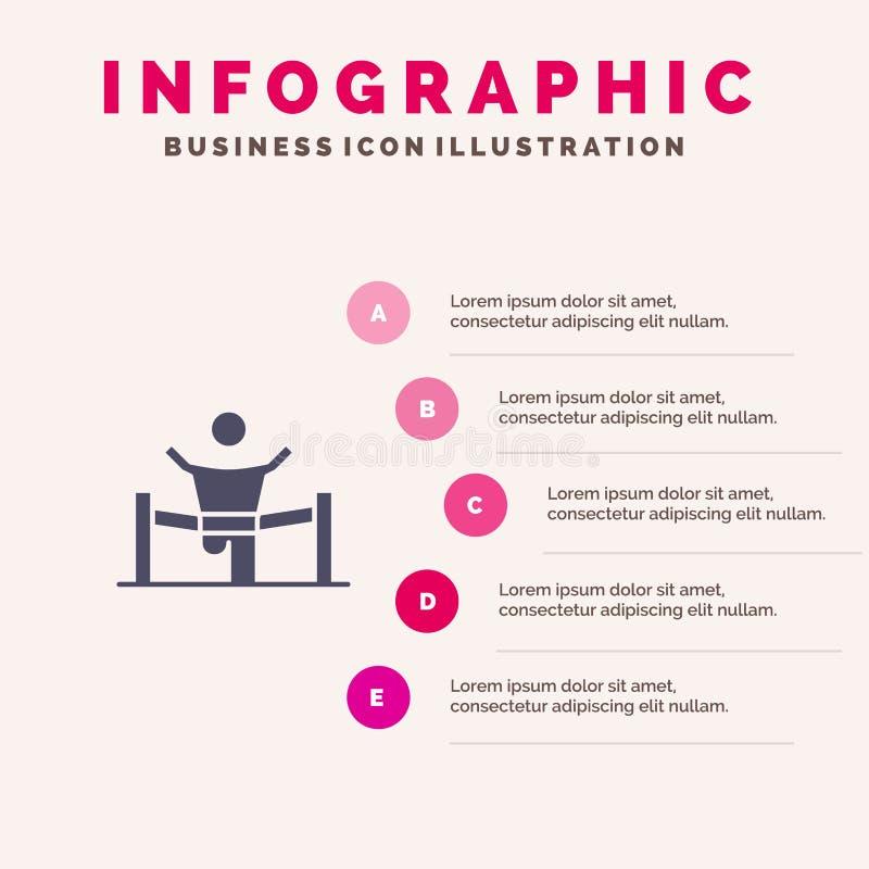 Sieger, Geschäft, Ende, Führer, Führung, Mann, Schritt-Darstellungs-Hintergrund Rennfester Ikone Infographics 5 stock abbildung