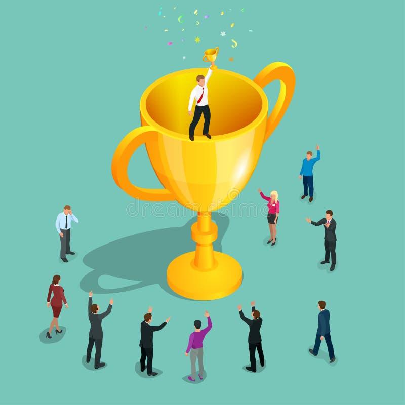 sieger Innovatives Denken, Führung Geschäftsmann, der Trophäensiegercup hält Erfolgreiches Geschäftsgeschichtenkonzept flach stock abbildung
