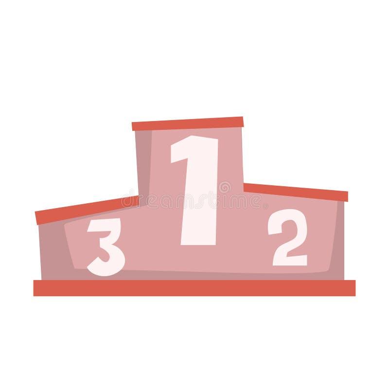 Sieger-Sockel, in Verbindung stehendes Gegenstand-Teil des Rennläufer-Attribut-Illustrations-Satzes laufend stock abbildung