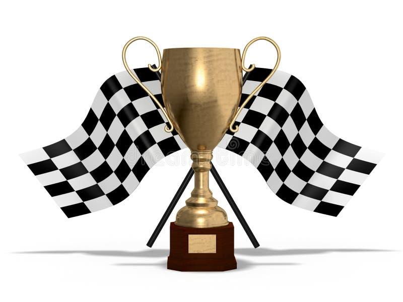 Siegercup mit Flaggen lizenzfreie abbildung