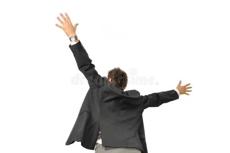 Siegergeschäftsmann, der von der Freude schreit lizenzfreies stockbild