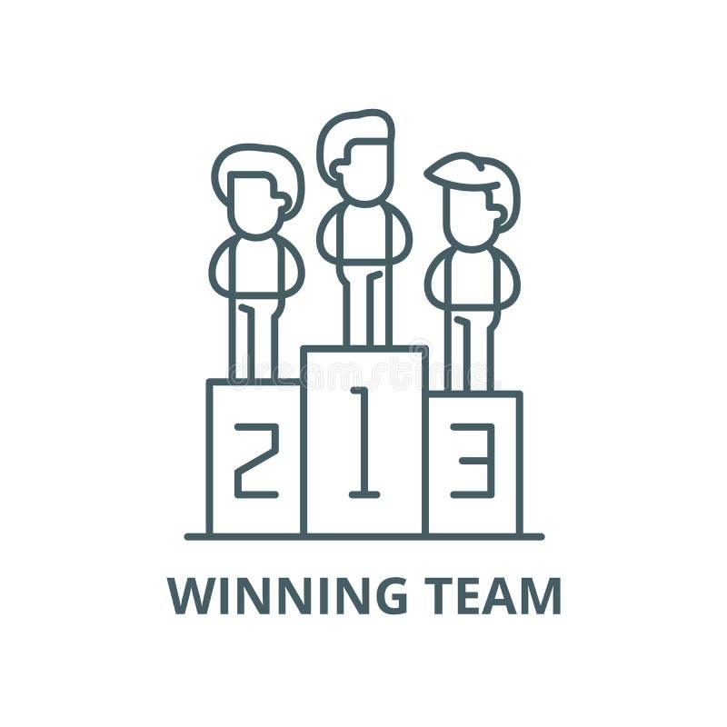 Siegermannschaftsvektorlinie Ikone, lineares Konzept, Entwurfszeichen, Symbol lizenzfreie abbildung