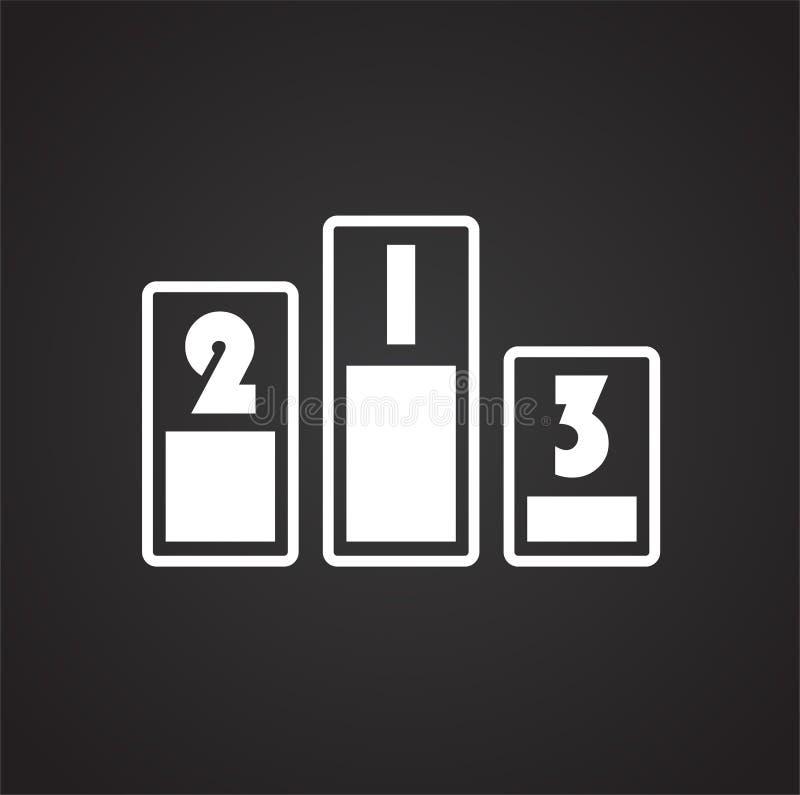 Siegerplatzikone auf schwarzem Hintergrund für Grafik und Webdesign, modernes einfaches Vektorzeichen Hintergrund der blauen Farb lizenzfreie abbildung
