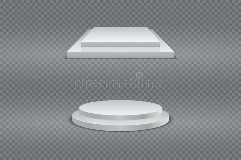 Siegerpodiumsatz Rundes und quadratisches zweistufiges Podium 3d, Sockel oder Plattform auf transparentem Hintergrund Vektor stock abbildung