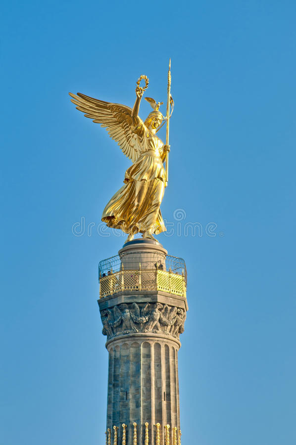The Siegessäule at Berlin, Germany. The Siegessaule is the Victory Column located on the Tiergarten at Berlin, Germany stock images