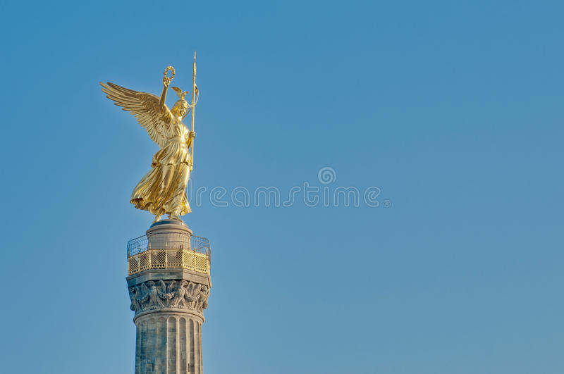The Siegessaule at Berlin, Germany. The Siegessaule is the Victory Column located on the Tiergarten at Berlin, Germany royalty free stock image