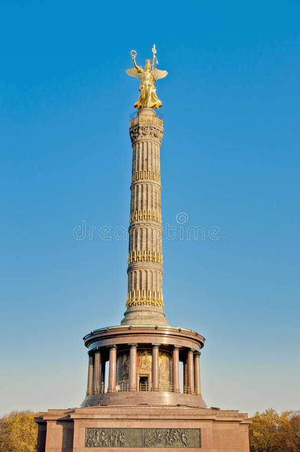 The Siegessaule at Berlin, Germany. The Siegessaule is the Victory Column located on the Tiergarten at Berlin, Germany stock images