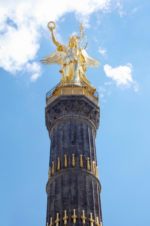 Siegessaule, victory column, Berlin. Siegessaule, victory column and golden statue in Tiergarten, Berlin, Germany stock photo