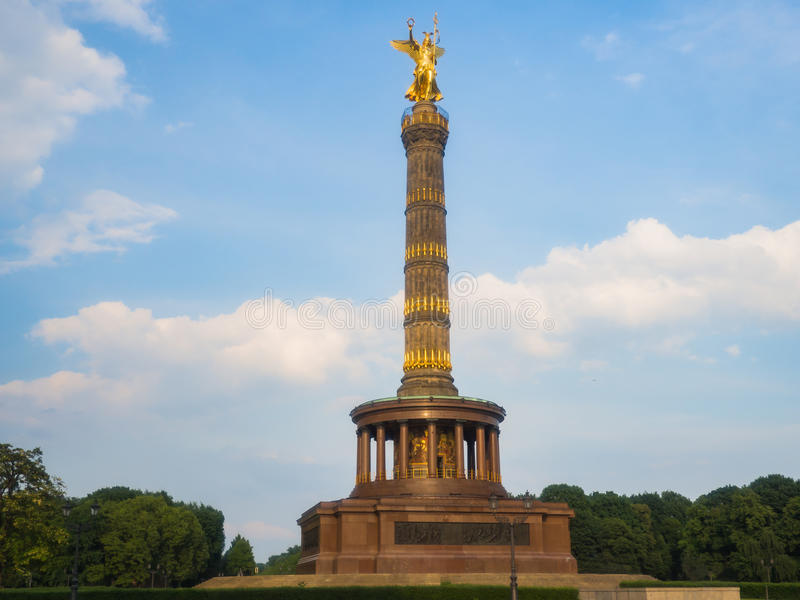 The Siegessaule is the Victory Column in Berlin. The Siegessaule is the Victory Column located on the Tiergarten at Berlin, Germany stock photography