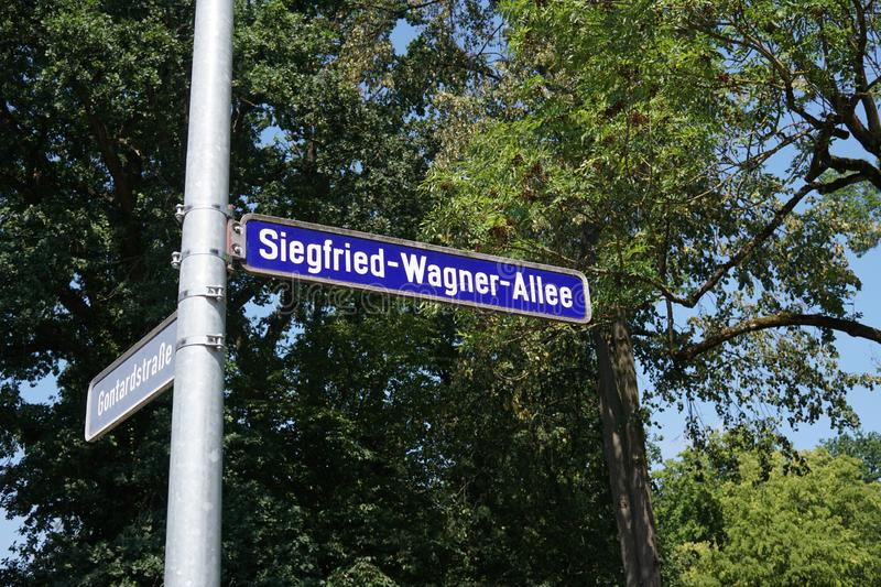 Siegfried Wagner Allee, Bayreuth, Germany. Bayreuth, Germany - August 4, 2018: Siegfried-Wagner-Allee street name sign in Bayreuth, a medium-sized city in royalty free stock image