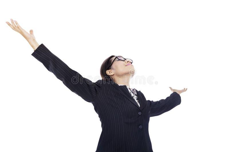 Siegreiche Geschäftsfrau stockfoto