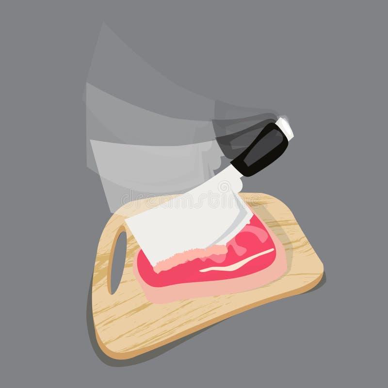 Siekać tnącą deskę z mięsem i nożem dla pokrajać na szarym tle ilustracji