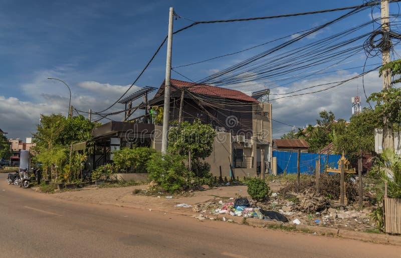 Siem oogst stad in Kambodja stock afbeelding