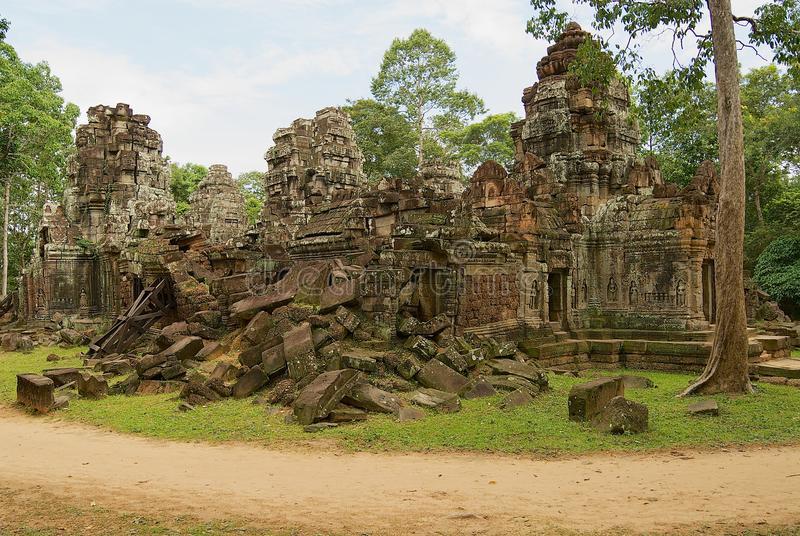 Exterior of the ruins of the Krol Ko temple in Angkor, Cambodia. royalty free stock photo