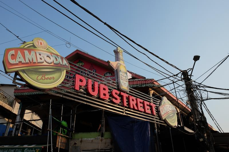 Large signboard of `Pub Street`, near the entrance to the tourist street. Siem Reap, Cambodia, December 22, 2018 a large signboard of `Pub Street`, near the stock images