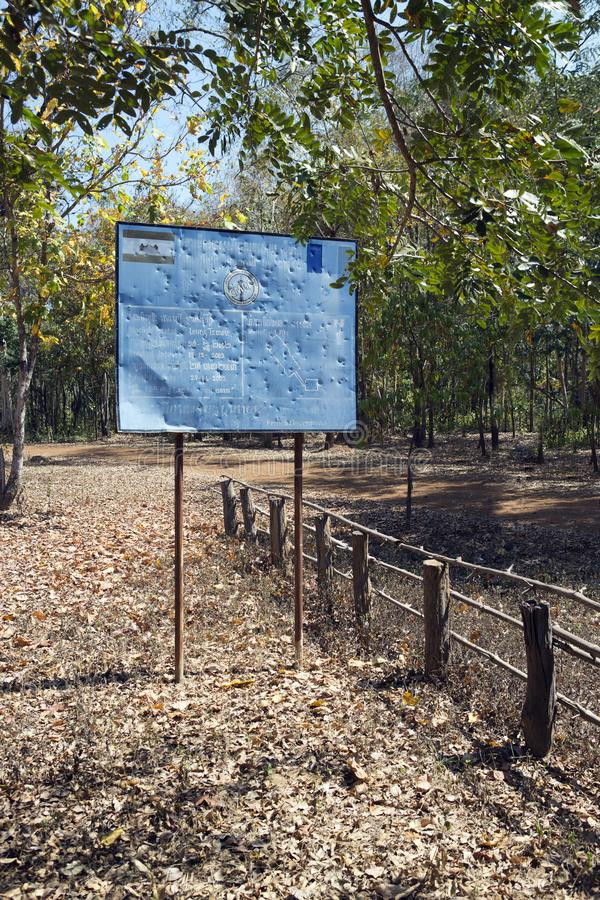 SIEM REAP, CAMBODIA - FEBRUARY 02, 2015: the information sign CMAC-Cambodian Mine Action Centre - about mine clearing of the terri royalty free stock images