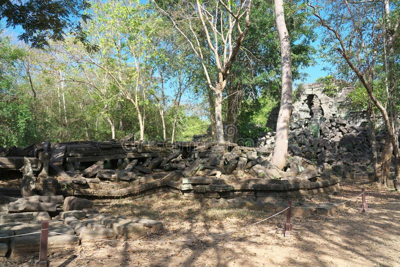 The collapsed of gallery of Beng Mealea in Siem Reap, Cambodia. Siem Reap,Cambodia-January 13, 2019: The collapsed of gallery of Beng Mealea in Siem Reap royalty free stock photos