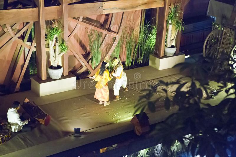 SIEM REAP, CAMBODIA - JANUARY 30, 2015: Scene from Khmer classical performing - Apsara dance traditional ancient dance in Cambodi stock image