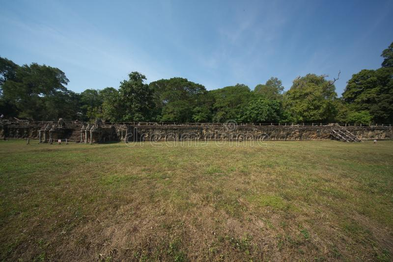 Elephant Terrace of Angkor Thom, Siem Reap royalty free stock photos