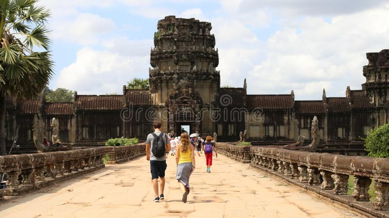 Siem Reap, Cambodia Nov 16, 2017 - Tourists exiting Angkor Wat Temple royalty free stock images