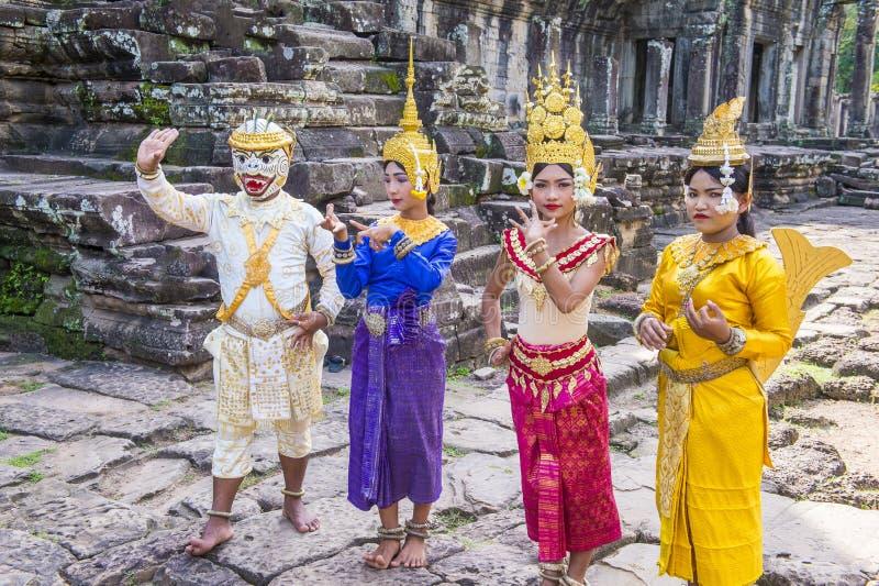 Cambodians Apsara dancers royalty free stock images
