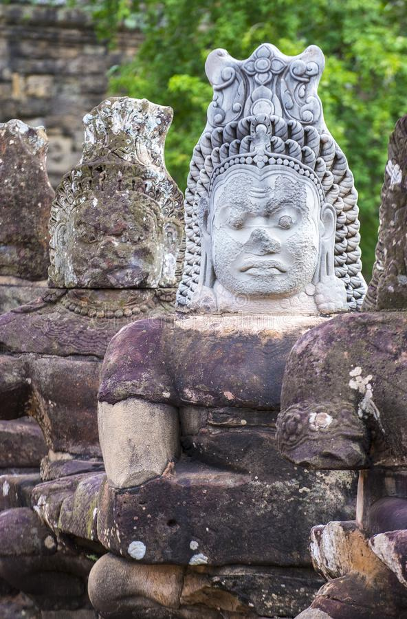 Angkor Thom Cambodia. SIEM REAP , CAMBODIA - OCT 15 : Statues at the South Gate of Angkor Thom, Siem Reap Cambodia on October 15 2017 , Angkor Thom was the last royalty free stock image