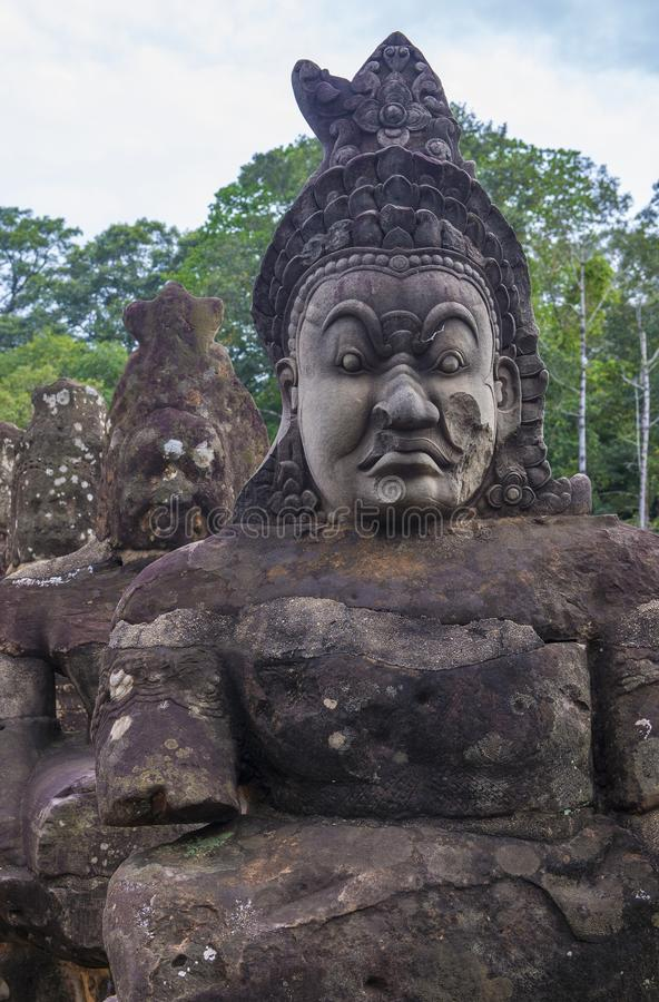 Angkor Thom Cambodia. SIEM REAP , CAMBODIA - OCT 15 : Statues at the South Gate of Angkor Thom, Siem Reap Cambodia on October 15 2017 , Angkor Thom was the last stock photography