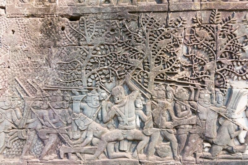 Siem Reap Cambodja - Februari 3 2015: Angkor Thom ett berömt historiskt royaltyfria bilder