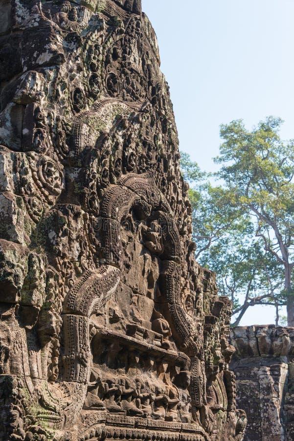 Siem Reap Cambodja - Februari 3 2015: Angkor Thom ett berömt historiskt arkivbilder