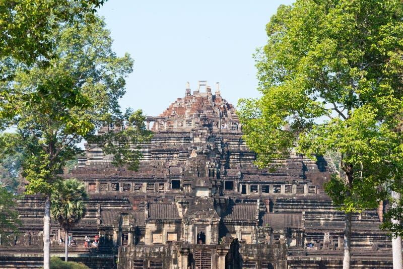 Siem Reap Cambodja - Februari 3 2015: Angkor Thom ett berömt historiskt royaltyfri fotografi