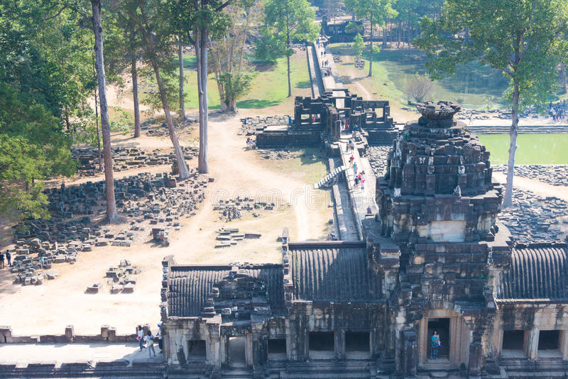 Siem Reap Cambodja - Februari 3 2015: Angkor Thom ett berömt historiskt fotografering för bildbyråer
