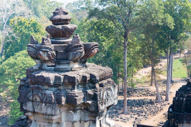 Siem Reap Cambodja - Februari 3 2015: Angkor Thom ett berömt historiskt royaltyfria foton
