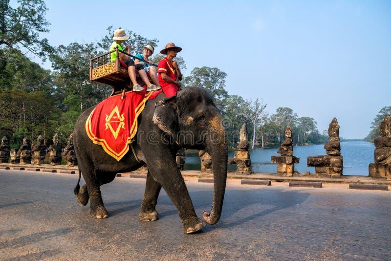 SIEM REAP CAMBODJA - MARS 8, 2017: Bärande touris för en elefant arkivfoton