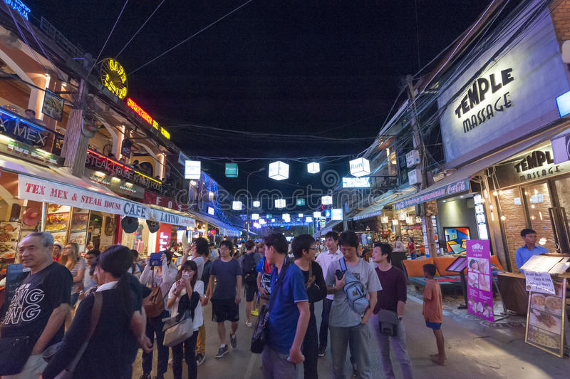 Siem Reap Pub Street. Siem Reap, Cambodia - 6 DEC 2015: Pub Street in Siem Reap, the most popular place for outsider royalty free stock image