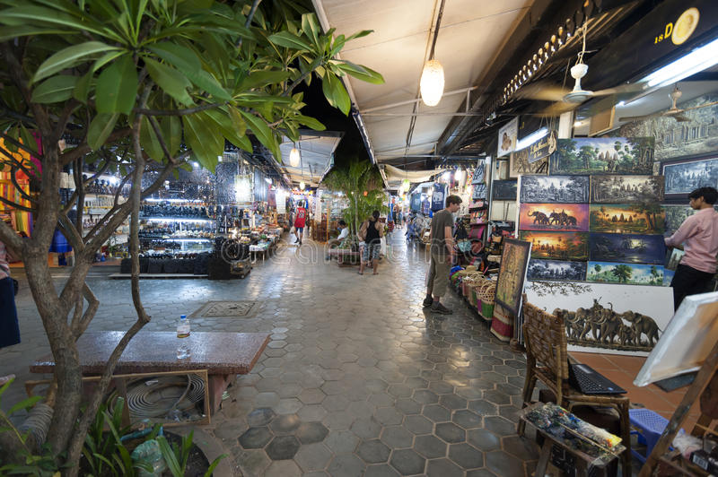 Siem Reap Pub Street. Siem Reap, Cambodia - 6 DEC 2015: Pub Street in Siem Reap, the most popular place for outsider royalty free stock photography