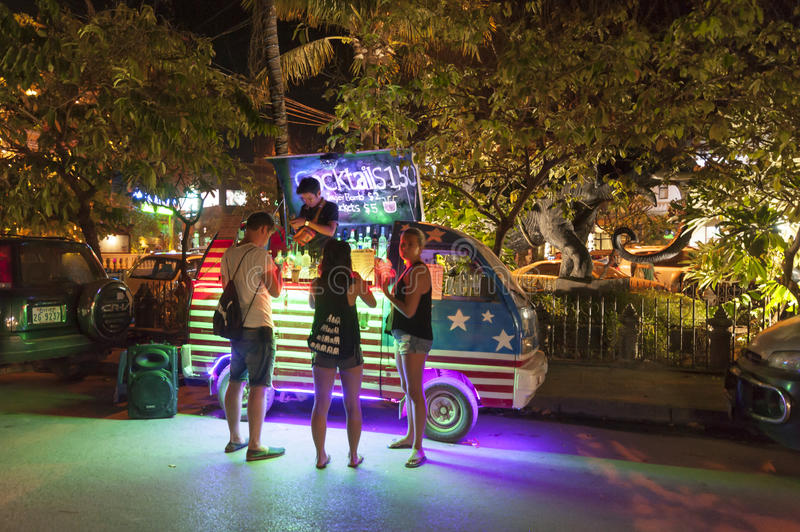 Siem Reap Pub Street. Siem Reap, Cambodia - 6 DEC 2015: Pub Street in Siem Reap, the most popular place for outsider royalty free stock images