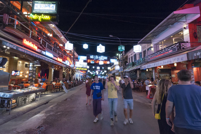 Siem Reap Pub Street. Siem Reap, Cambodia - 6 DEC 2015: Pub Street in Siem Reap, the most popular place for outsider royalty free stock photos