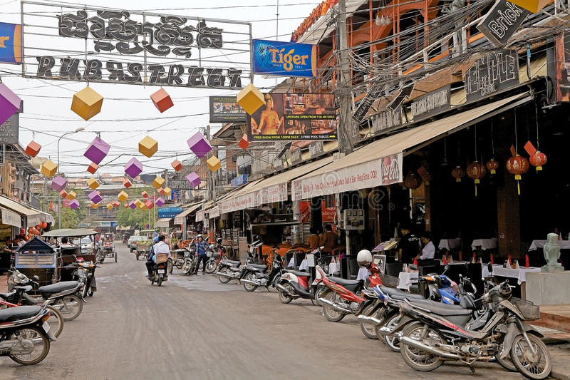 Siem Reap. Pub Street in Siem Reap, Cambodia. Pub Street is a touristic area with a lot of restaurants, shops and the night market royalty free stock photography