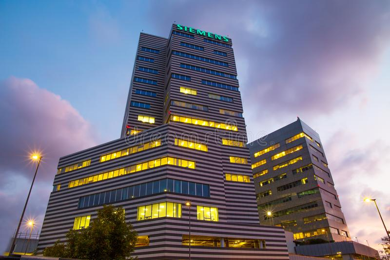 Siemens Building, the new headquarters of Genoa, Italy stock photo