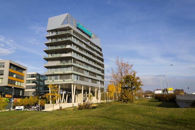 Siemens company logo on Czech headquarters stock photos