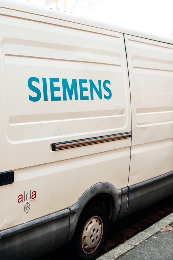 Siemesn logotype on a white van stock photography